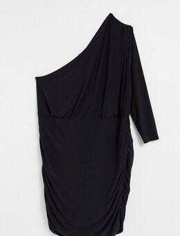 Mini jurk met blote schouder en ruches in zwart