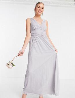 Bruidsmeisjes - Maxi jurk met V-hals in grijs