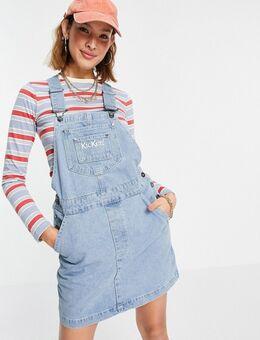 Denim mini overgooier jurk met geborduurd logo in vintage blauwe wassing