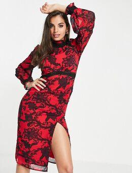 Hoogsluitende midi-jurk met contrasterend kant in rood en zwart-Veelkleurig