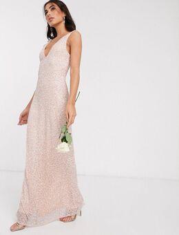 Lange versierde jurk in roze