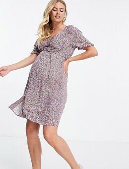 Pieces - Zwangerschapskleding - Aangerimpelde jurk met knopen en fijne bloemenprint-Veelkleurig