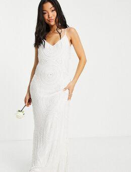 Petite - Bruidskleding - Cami jurk met versiering in wit