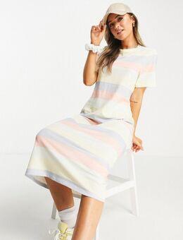 Oversized midi T-shirtjurk met uitsnijding op de rug in pastelkleurige strepen-Meerkleurig