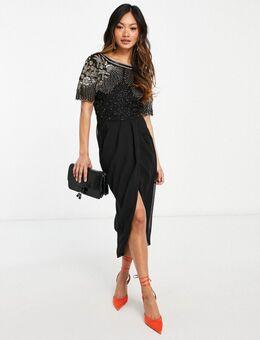 Nicola - Midi jurk met versiering en wikkelrok in zwart