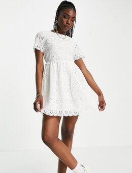 Mini-jurk met broderie anglaise in wit