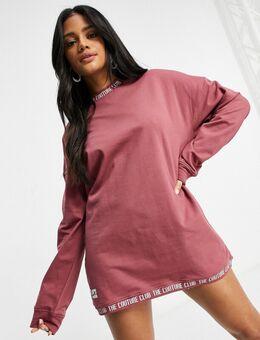 Oversized sweaterjurk in roze