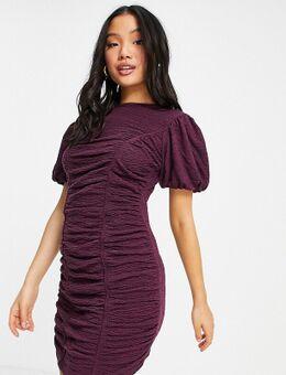 Mini jurk met textuur en rimpeleffect in paars