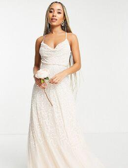 Bruidskleding - Midaxi-jurk versierd met verspreide parelachtige lovertjes en gedrapeerde halslijn-Wit