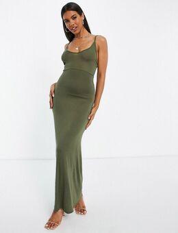 Bodycon maxi jurk in kaki-Groen