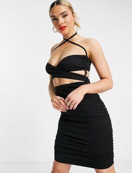 Slankvallende mini-jurk met gerimpelde, gekruiste voorkant in zwart