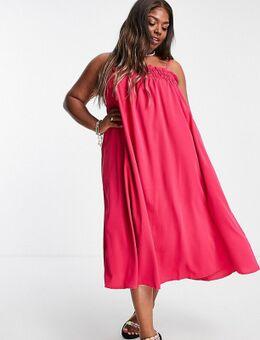 Lola May Plus - Lange luchtige jurk met cami-bandjes-Roze
