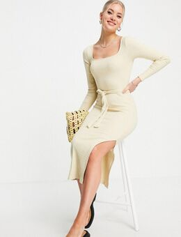 Geribbelde jurk met lange mouwen en ceintuur in ecru-Neutraal