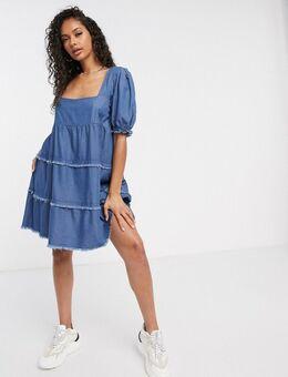 Aangerimpelde denim jurk met vierkante hals-Blauw