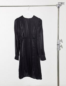 Y.A.S. Tall - Shine - Mini-jurk met zijdeachtige kanten afwerking in zwart