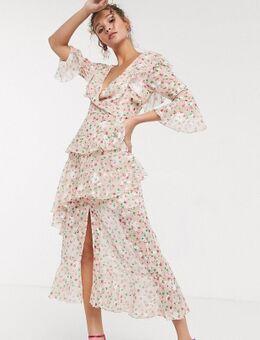 Diepuitgesneden lange jurk met ruches en fijne bloemenprint in poederroze-Meerkleurig
