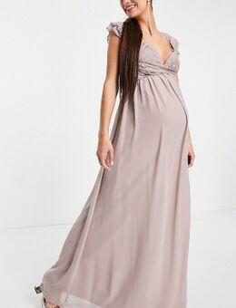 Maxi jurk met versierde fladdermouwen en gedraaide taille in oestergrijs