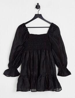 Aangerimpelde mini jurk met pofmouwen in zwart