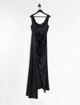 Halflange sweetheart jurk in zwart
