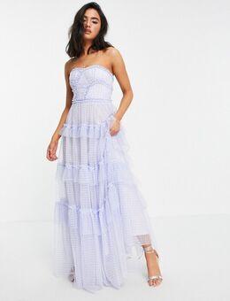 Caroline - Lange jurk met ruches en gingham ruit in blauw