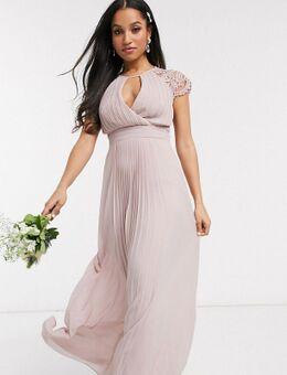 Lange bruidsmeisjesjurk met kanten mouwen in roze