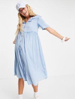 Wednesday's Girl - Zwangerschapskleding - Midi smockjurk van denim met knoopsluiting-Blauw