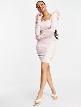Bodycon-jurk van mesh met lange mouwen in roze