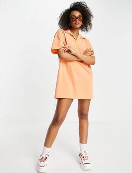 Polo-jurk met korte mouwen in koraal-Oranje