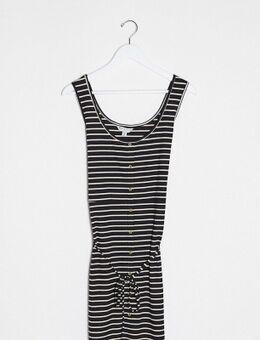 Pallas - Gestreepte jersey jurk met knopen en gestrikte taille in zwart