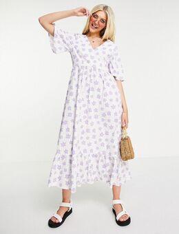 Alice - Midi-jurk van seersuckerstof met bloemenprint in wit