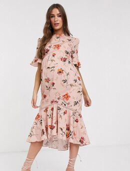 Hope & Ivy - Zwangerschapskleding - Halflange jurk met open achterkant, ruches en bloemenprint-Multi