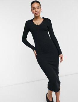 Midi-jurk met kraag in zwart