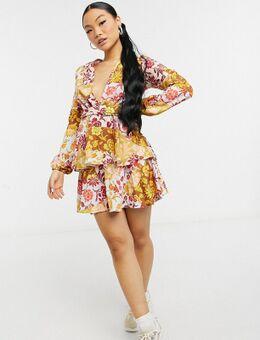 Exclusives - Diepuitgesneden mini jurk met gelaagde ruches aan de voorkant in contrasterende bloemenprint-Meerkleurig