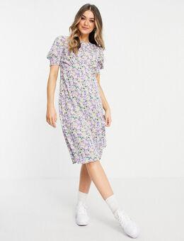 Midi jurk met pofmouwen in fijne bloemenprint-Paars