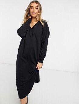 Midi jurk van sweatstof met V-hals in zwart