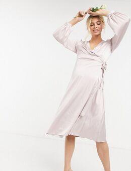 TNFC Maternity - Bruidsmeisjes - Satijnen midi-jurk met lange mouwen en overslag in lichtroze