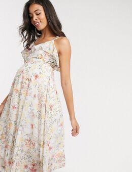 Hope & Ivy - Halflange midi-jurk met blote schouders en fijne bloemetjesprint-Multi