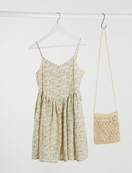 Mini cami-jurk met fijne bloemenprint-Crème