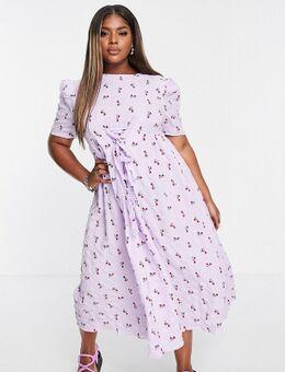 Aangerimpelde midi jurk met gestrikte voorkant en bloemenprint-Paars