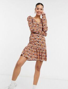 ASOS DESIGN Tall - Elegante jurk met knopen, ruches aan de zoom en lange mouwen in bruine bloemenprint