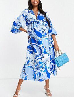 Exclusives - Diepuitgesneden, gelaagde maxi-jurk met ruches en wervelende print in blauw-Veelkleurig