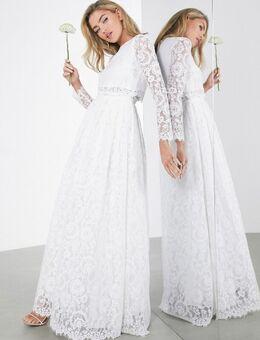 Grace - Lange trouwjurk met crop top met lange mouwen van kant-Wit