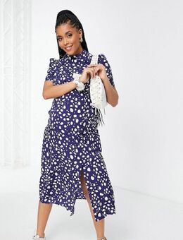 ASOS DESIGN Maternity - Hoogsluitende nette jurk met knoopjes in blauw met stippenprint-Veelkleurig