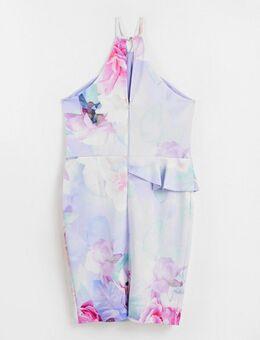 Midi-jurk van scubastof in blauw met bloemenprint