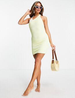 Scrunchie mini-jurk met blote schouder in geel