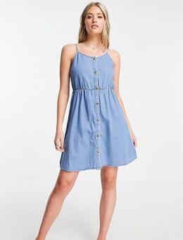 Denim cami jurk van biologisch katoen in blauw