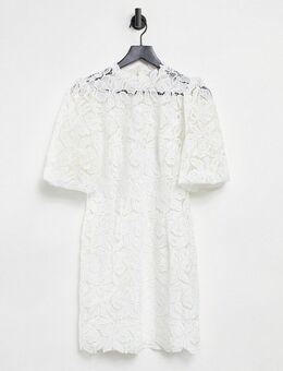 Hoogsluitende rechte mini jurk van kant met pofmouwen in ivoor-Wit