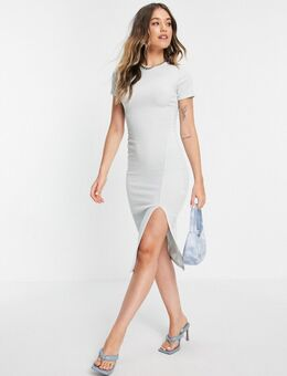 X Saffron Barker - Midi jurk met dijhoge split in blauw