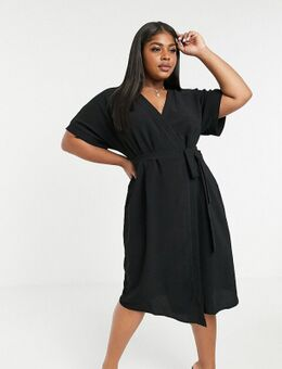 ASIS DESIGN Curve - Midi-jurk met overslag in zwart