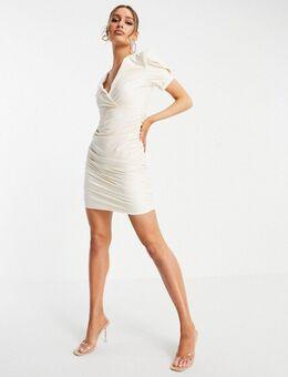 Mini jurk van imitatieleer met geplooide zijkant in crème-Meerkleurig